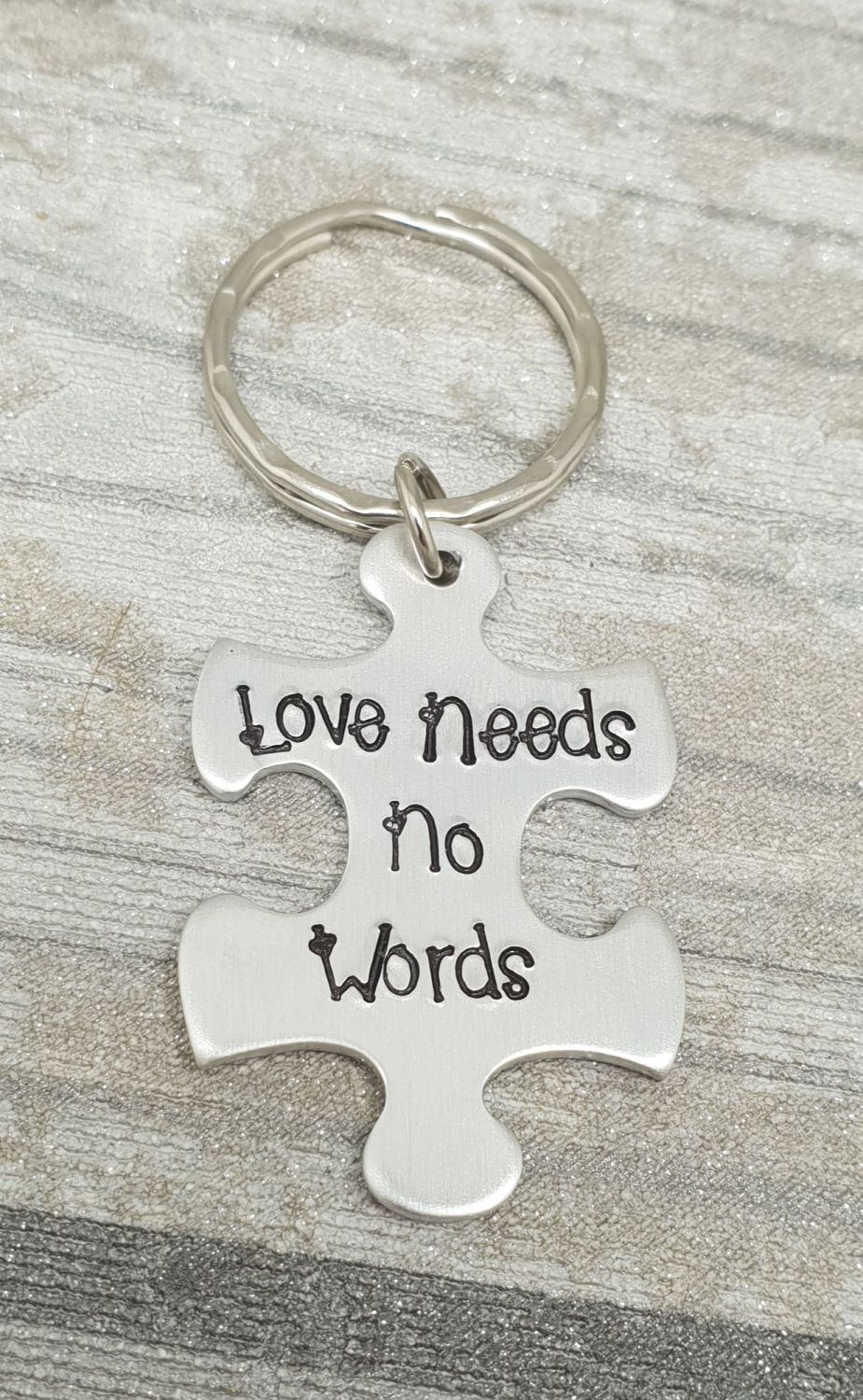 Autism Awareness Keyring (love needs no words)