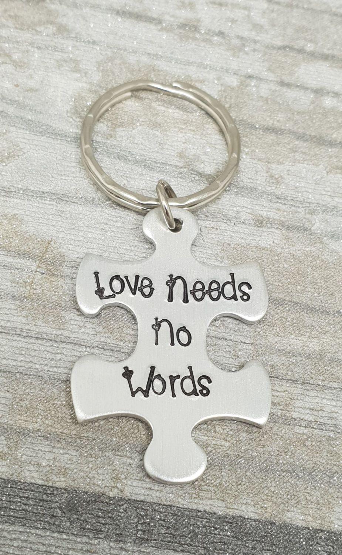 Autism Awareness Keyring (love needs no words)