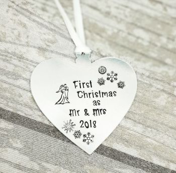 First Christmas as Mr & Mrs 2018 - Heart Christmas Decoration