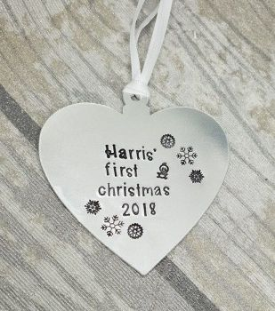 (name)'s First Christmas 2018 - Heart Christmas Decoration