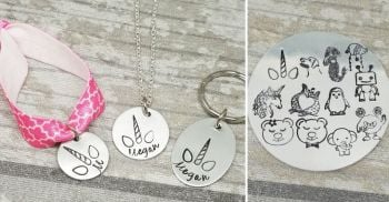 Personalised Set - Keyring, Necklace, Elasticated Bracelet