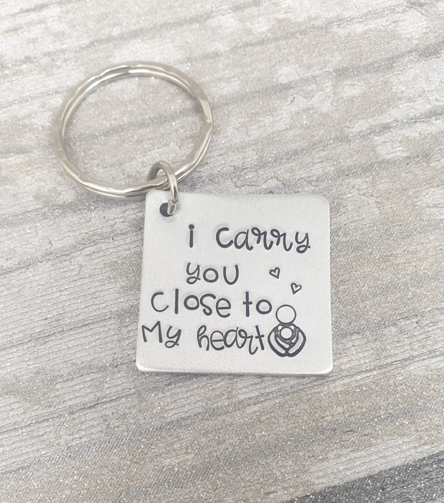 I carry you close to my heart Keyring
