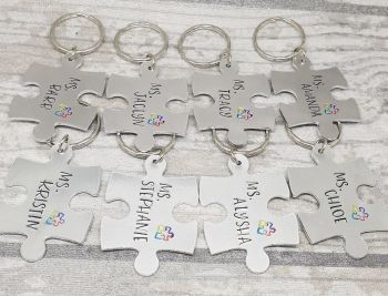 Puzzle Piece - Teacher Keyring with Autism Awareness Puzzle Design