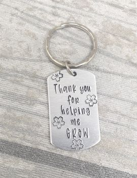Thank You For Helping Me Grow - Teacher Keyring