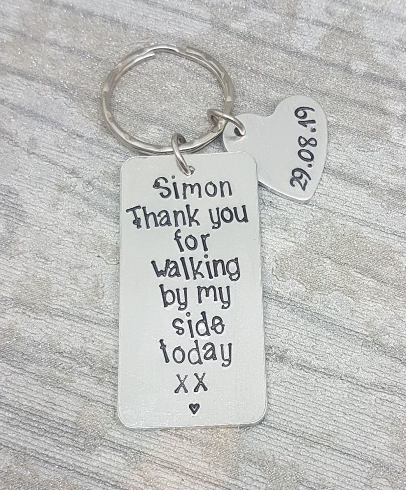 Thank you for walking by my side today, Name & Date, Keyring