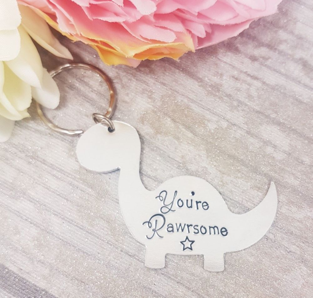 You're Rawrsome - Dinosaur Shaped Keyring
