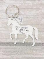 This Human Belongs To.. Horse Keyring
