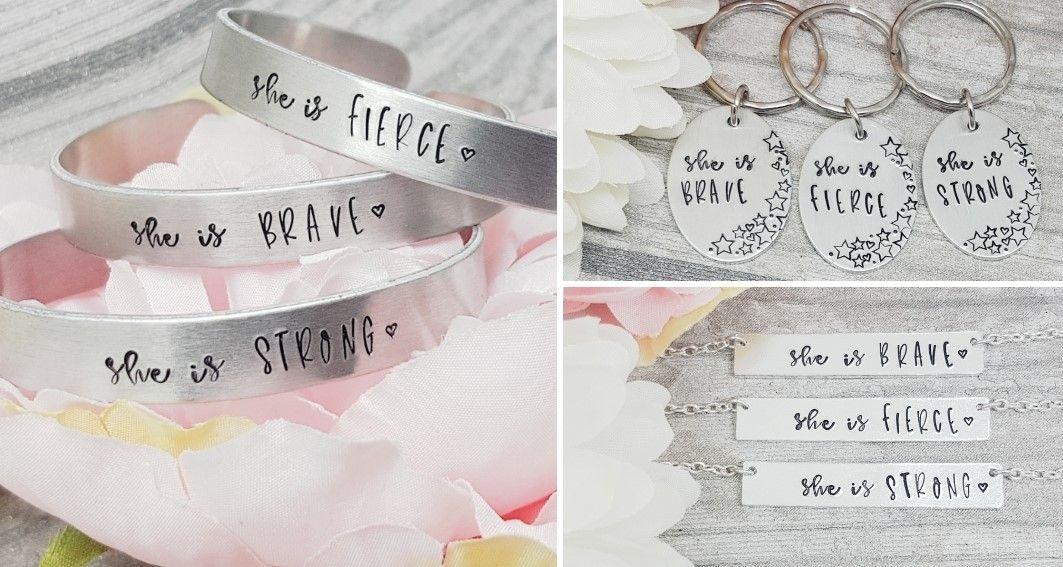 She Is... Set - Keyring, Bar Necklace & Cuff Bracelet