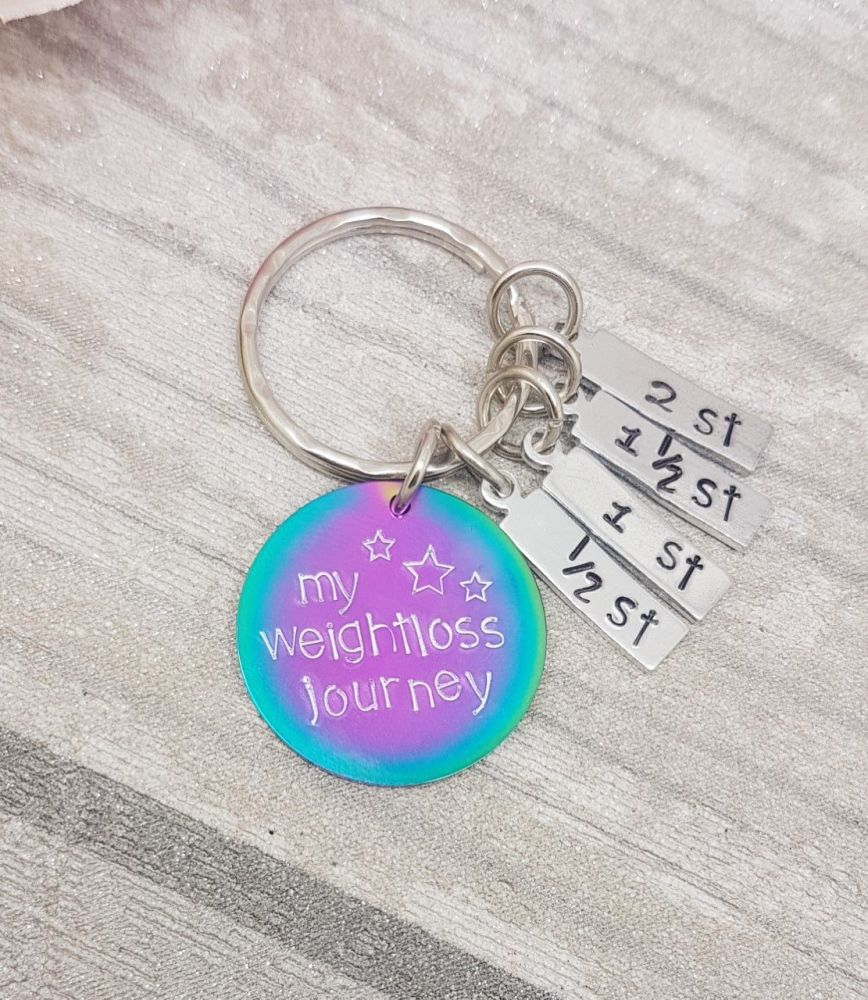 My Weightloss Journey - Rainbow - Weight loss keyring with 4x charms