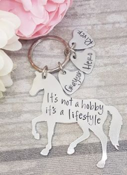 It's not a hobby it's a lifestyle keyring - Horse Keyring- with personalised name tags