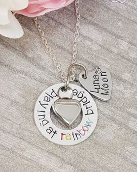 Rainbow Bridge Necklace - With heart Urn for ashes and Personalised Name Charm