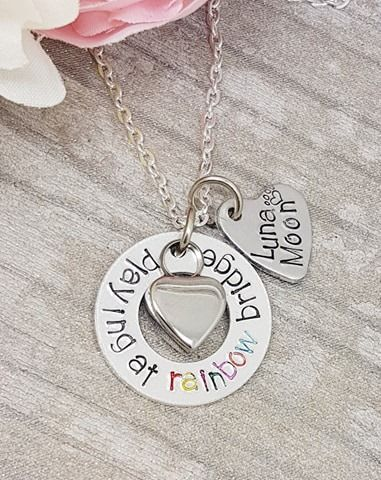 Rainbow Bridge Necklace - With heart Urn for ashes and Personalised Name Ch