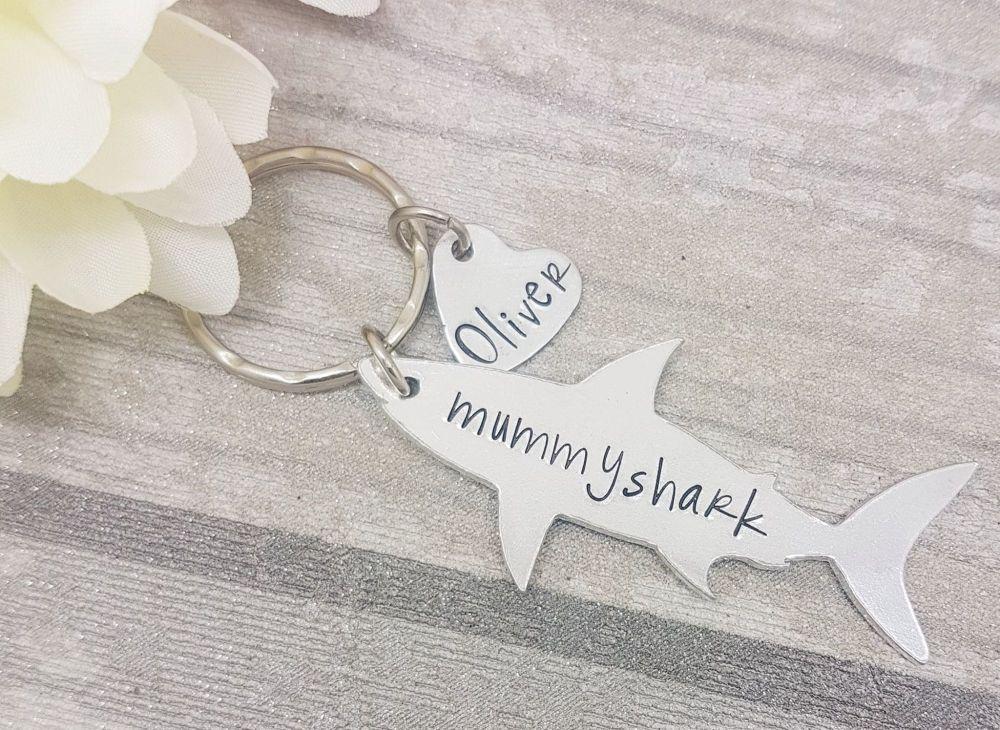 Mummy Shark Keyring... Skark Family Keyring -  Any number of hearts!