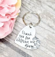 Thank You For Helping Me Grow - Heart Keyring