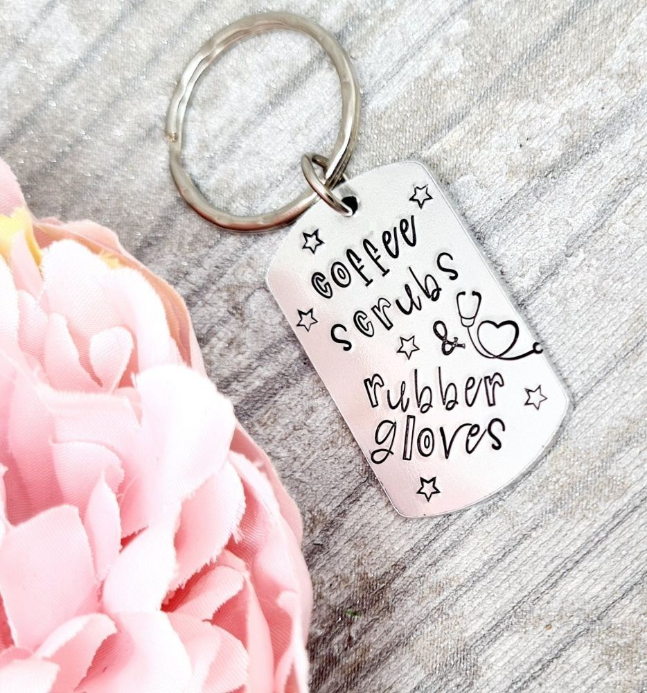 Coffee Scrubs & Rubber Gloves - Keyring