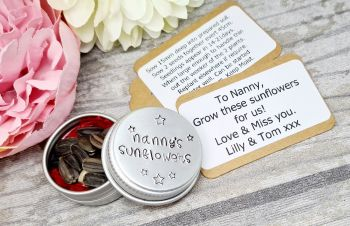 Nanny's Sunflowers - personalised sunflower pot - sunflower seeds including - for any family member
