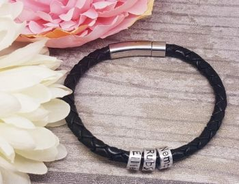 Genuine Leather Bracelet with Personalised Beads