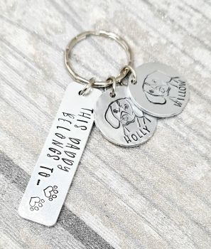 This Human Belongs to.. With Dog Name & Designs Keyring - 14 breeds available