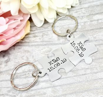 Initials & Date Puzzle Piece Keyrings (set of 2)