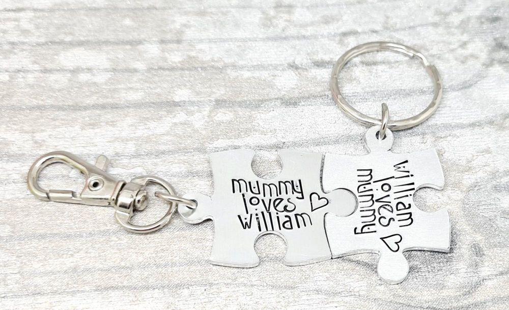 Mummy Loves ...  Bagtag and ... Loves Mummy Keyring Set