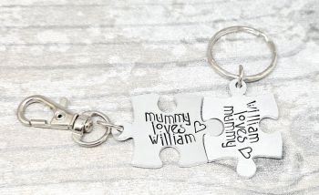 Mummy Loves ...  Bagtag and ... Loves Mummy Keyring Set