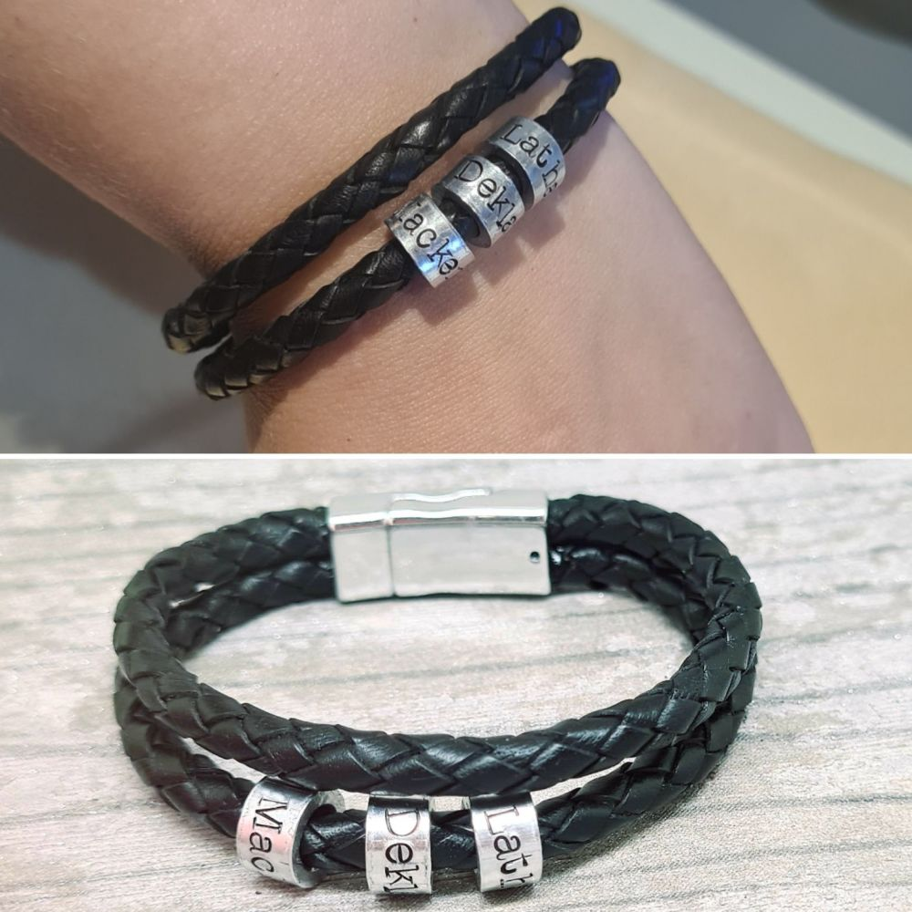 Genuine Double Leather Bracelet with Personalised Beads