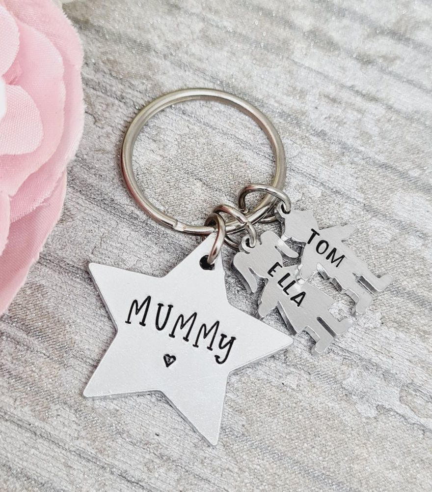 Family Star Keyring with personalised boy/girl charms  - FIVER FRIDAY 09/10