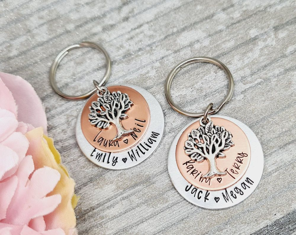 Family Tree Style Keyring - Double layered