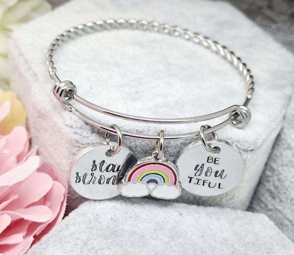 Stay Strong - Be You Tiful - Rainbow - Twisted Adjustable Bangle