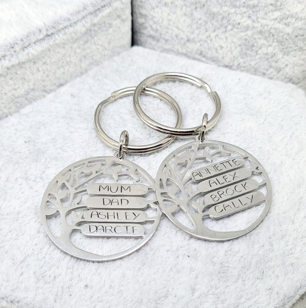 Family Tree Necklace or Keyring - Stainless Steal - 4 Spaces