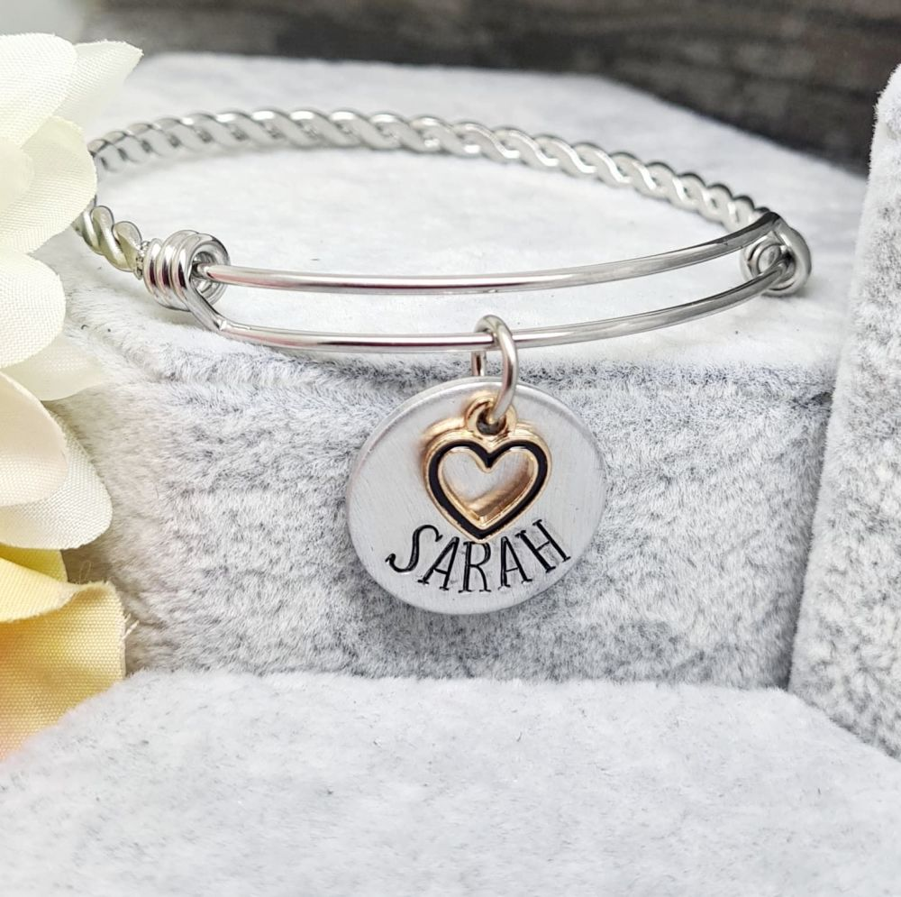 Personalised Bangle with Heart Charms - Twisted Adjustable Bangle
