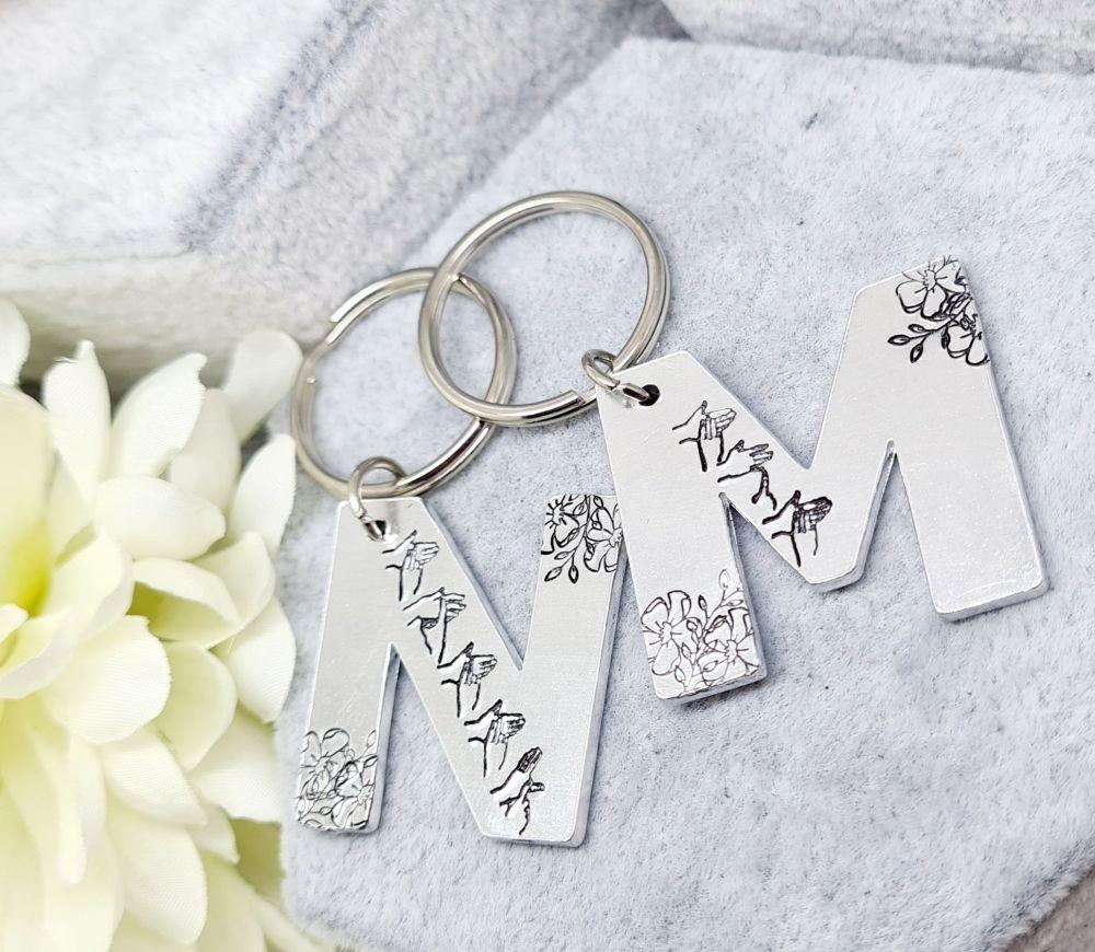 BSL Mum / Nanny Keyring - Letter M / N - Floral