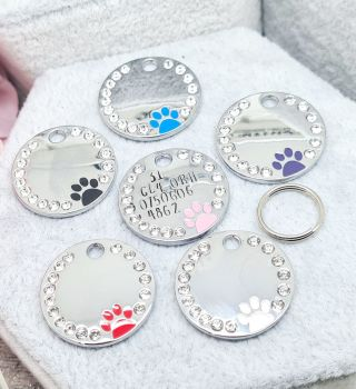 Diamante Dog Tag - With wording on the front - Choice of colours **INTRO OFFER**