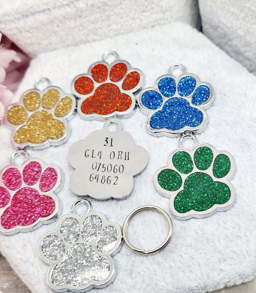 Glittery Dog Tag - With wording on the back - Choice of colours **INTRO OFF