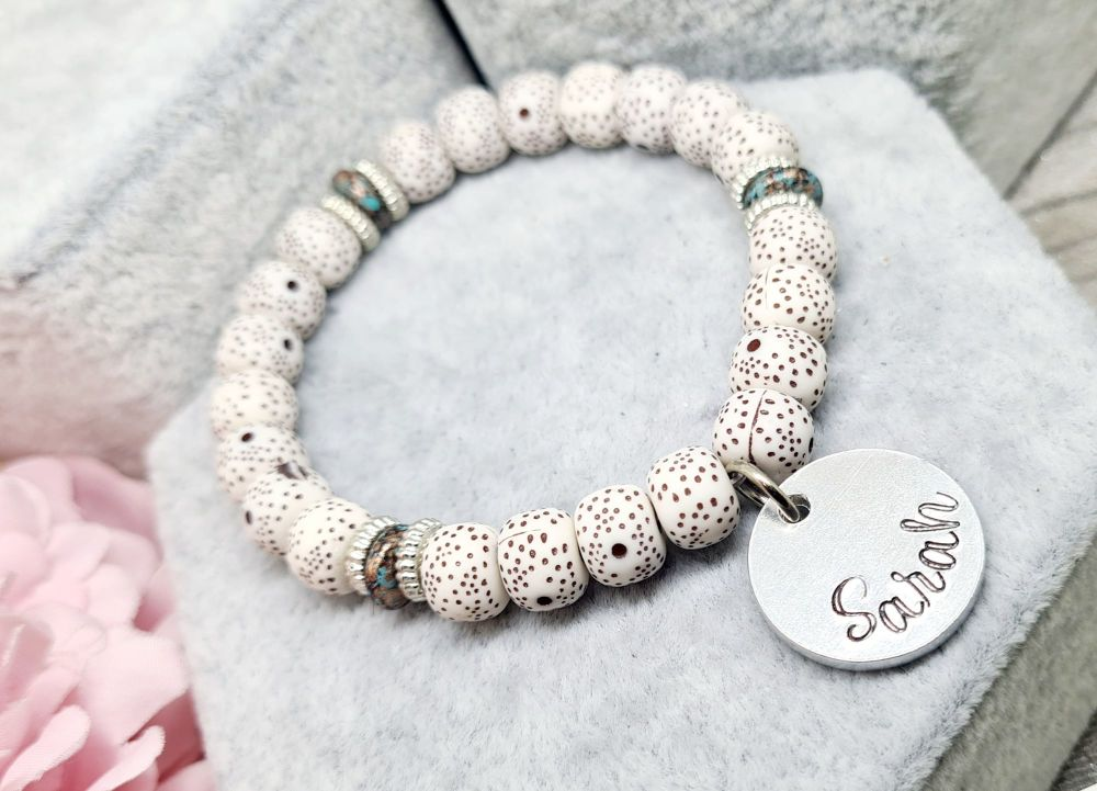 Marble Beaded Bracelet with Name Charm **FIVER FRIDAY 09/04**