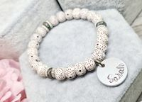 Marble Beaded Bracelet with Name Charm
