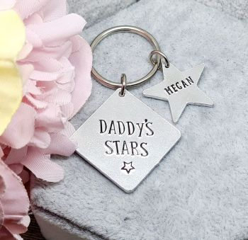 Daddy's Little Stars Keyring with Star Charms