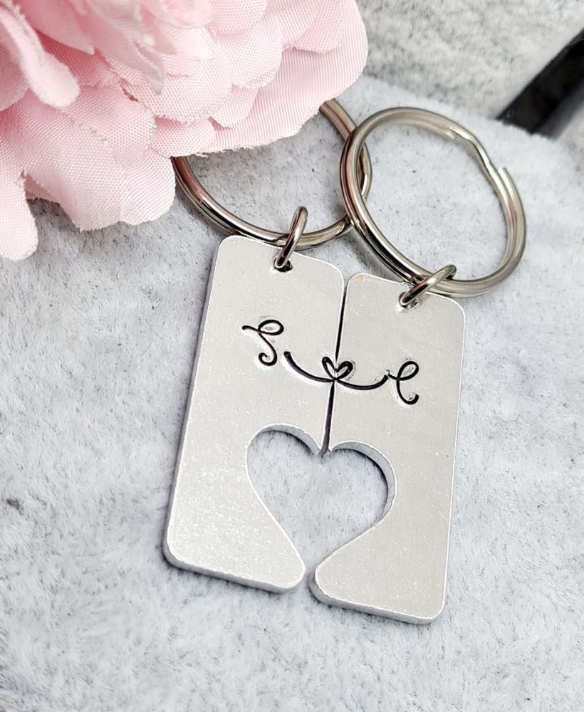 Couples Keyring - Split Keyring with Love Link and Initials **FIVER FRIDAY