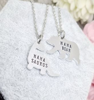 Mama Bear / Mama Saurus Necklaces - Family Member can be changed to suit