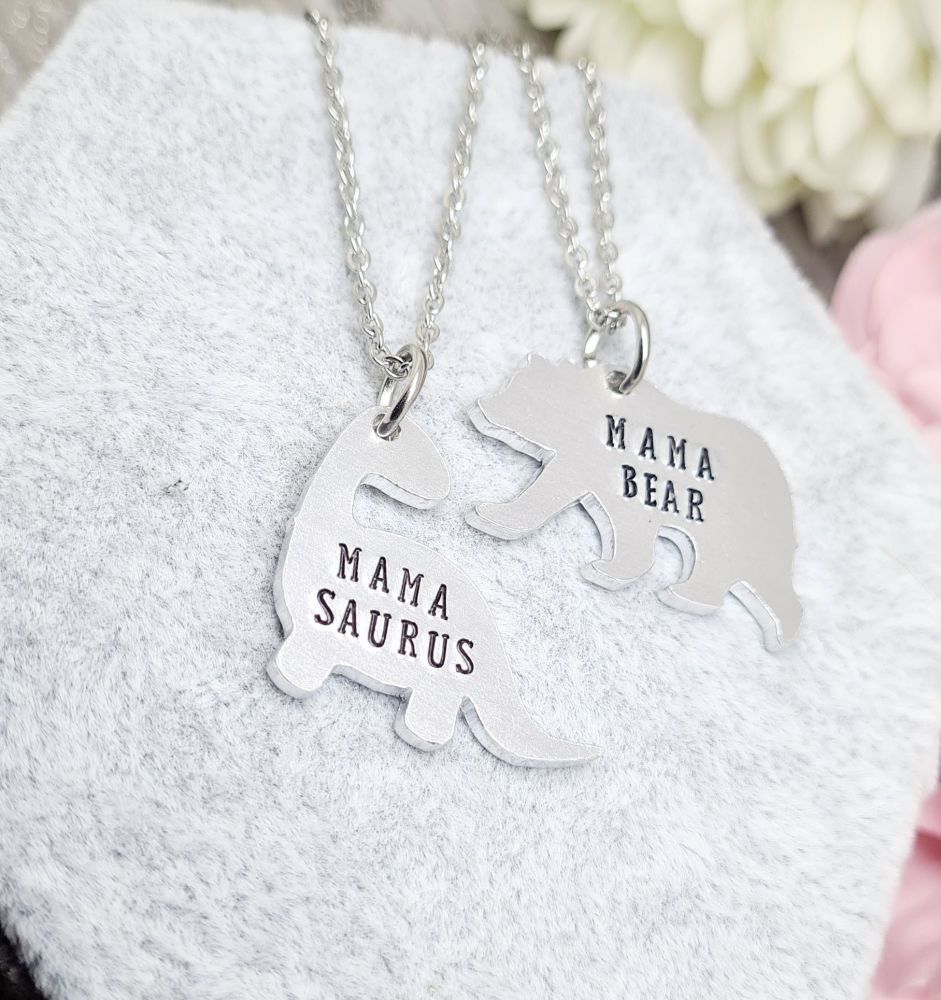 Mama Bear / Mama Saurus Necklaces - Family Member can be changed to suit **