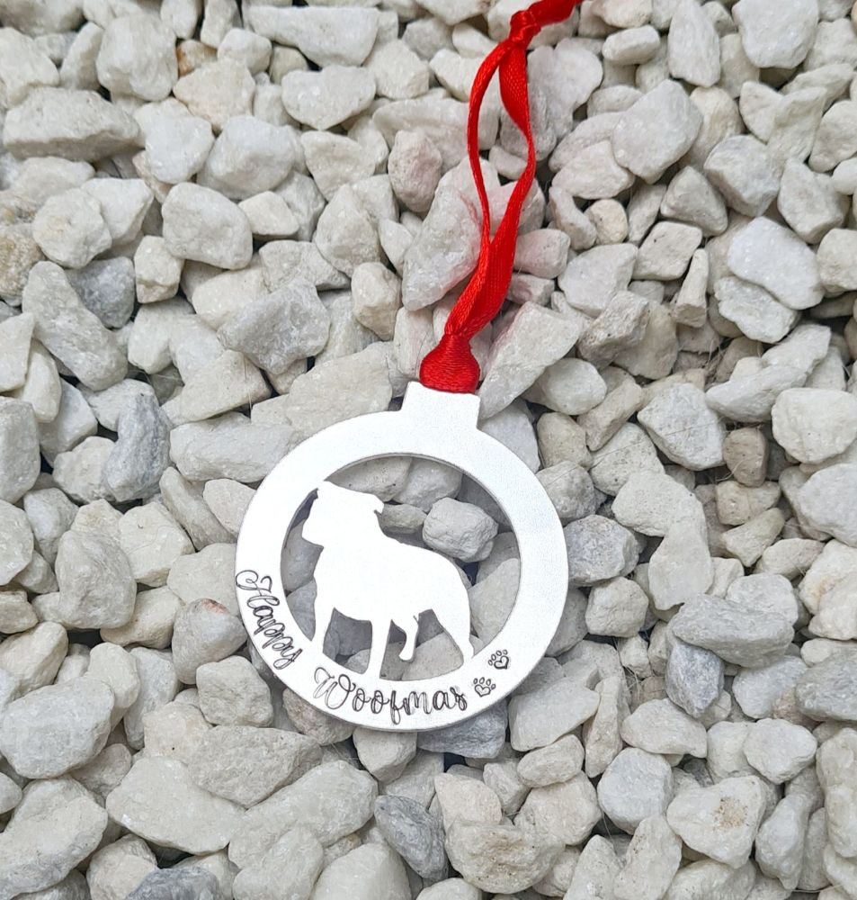 Dog Decoration - Happy Woofmas -  Available in 8 different breeds.
