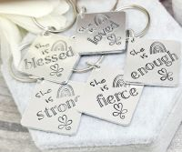She Is... Keyring - blessed, loved, enough, fierce, strong