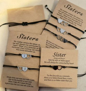 Sister Wish Bracelets - With Backing Card - Personalised with initials