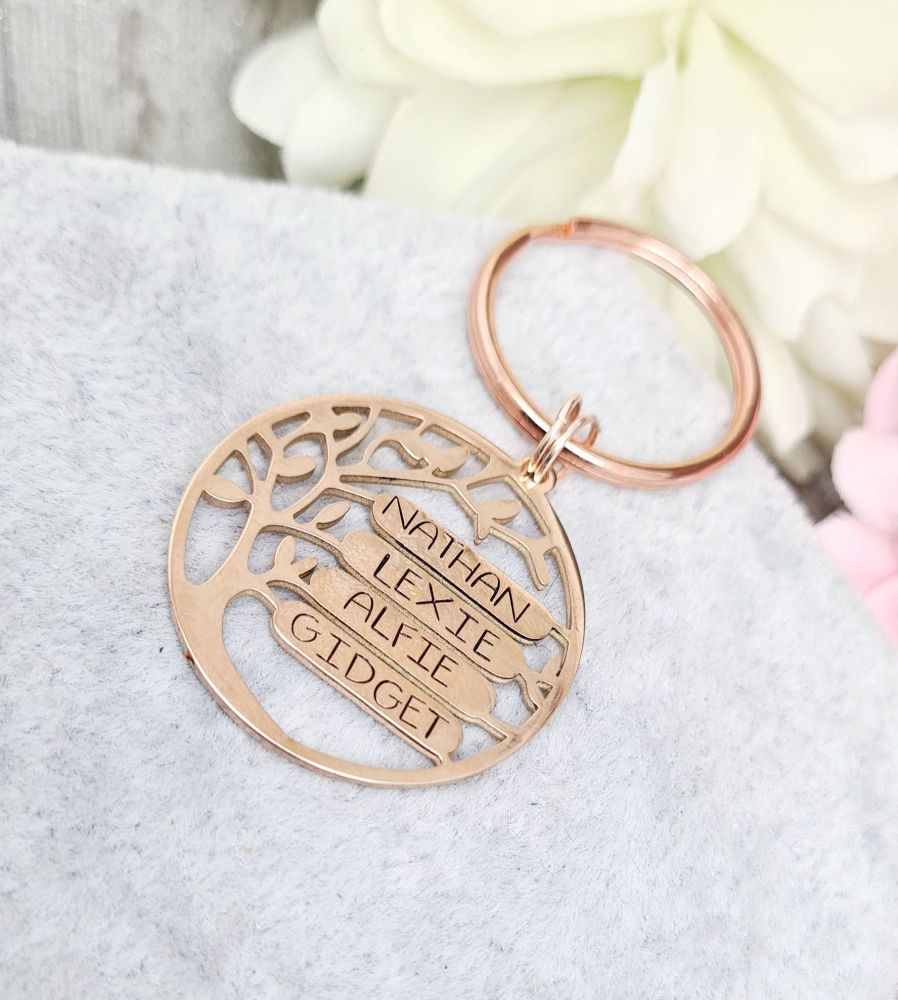 Family Tree  Keyring - Copper - 4 Spaces