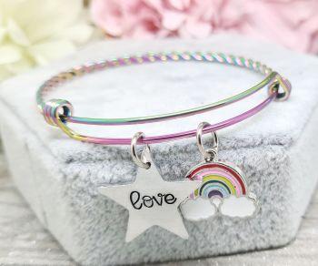 "Rainbow Twisted Bracelet - With Star Charm ""Love"" and Rainbow Charm"