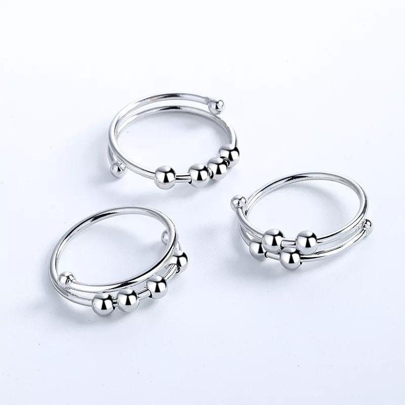 Fidget Ring - Adjustable wrap around Ring with 4x fidget balls.