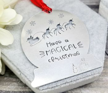 Have A MAGICAL Christmas Decoration - Unicorn Sleigh Christmas Decoration - Can be personalised