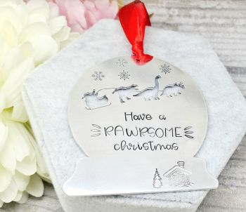 Have A RAWRSOME Christmas Decoration - Dinosaur Sleigh Christmas Decoration - Can be personalised