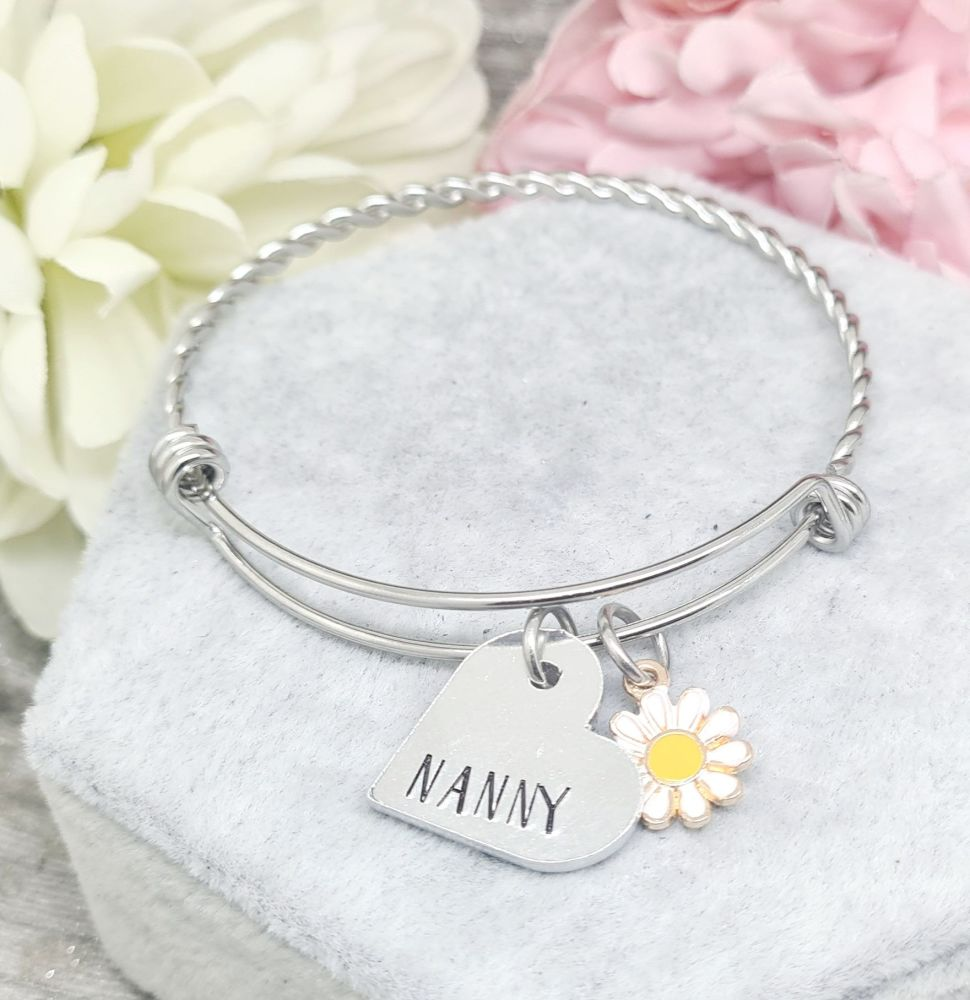 Twisted Bangle with Relative Personalised Charm - Complete with Daisy