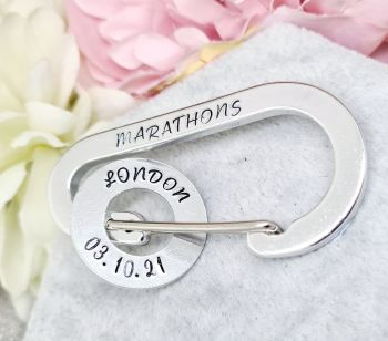 Marathon Carabiner - With personalised Place/Date washer charms